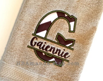 Traditional Monogram Last name + Split Applique Chevron fabric Letter - Choose thread + Chevron fabric