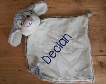 White and Gray Bunny Minky Blanket - Monogrammed Rabbit Blankie - Monogram Baby Gift - Security Blanket
