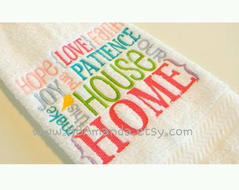 Faith Hope Love Quote embroidery hand towel - Faith Hope Love kitchen towel
