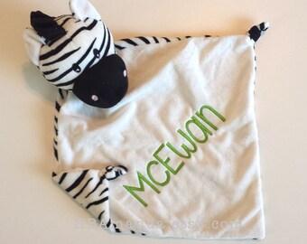 Black and White ZEBRA Minky Blanket - Monogrammed Zebra Blankie - LIMITED EDITION