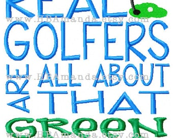 REAL Golfers Are All About That GREEN Quote Towel - Golfer Sports Towel - Golf Pro Gift Towel