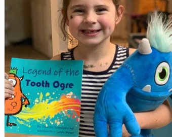 TOOTH OGRE - MONSTER tooth fairy pillow for boys or girls - monster pillow - tooth fairy pillow blue