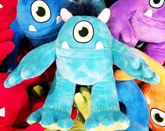 Plush Stuffed Animal MONSTER - MONSTER plushy for boys or girls - monster pillow - plushies pillow aqua turquoise teal