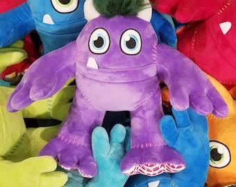 Plush Stuffed Animal MONSTER - MONSTER plushy for boys or girls - monster pillow - plushies pillow purple violet