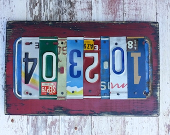 10th Wedding Anniversary Tin Aluminum Gift - 10 year wedding anniversary gift for men husband - License Plate Sign Name Word Personalized>