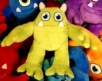 Plush Stuffed Animal MONSTER - MONSTER plushy for boys or girls - monster pillow - plushies pillow lime green