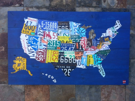 License Plate United States Map.Original United States Map Adventure Road Trip Hiking Etsy