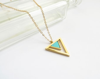 Turquoise Triangle Necklace In Gold, Delicate Everyday Necklace, Geometric Pointed Pendant With Howlite Stone