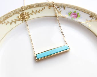 Turquoise Bar Necklace, Delicate Turquoise Necklace, Horizontal Bar Necklace, Layering Necklace
