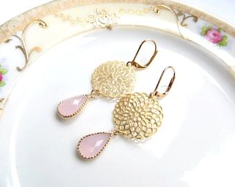 Rose Quartz Dangling Earrings, Long Pink Earrings on Hypo Allergenic Leverback Hooks, Bridal Earrrings