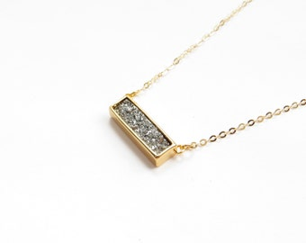 Druzy Bar Necklace In Silver And 14kt Gold Fill, Mixed Metals Necklace, Druzy Quartz Jewelry, Everyday Jewelry