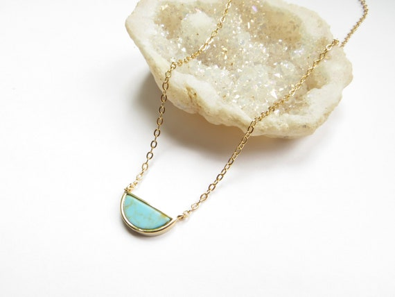 6f781bbf784 Turquoise Half Moon Necklace, Delicate Turquoise Necklace, Gold Geometric  Necklace