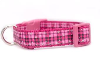 "Pink Plaid Dog Collar - Buffalo Plaid Dog Collar - 5/8"" or 3/4"" inch wide - small dog collar - girl dog collar - striped collar pink"