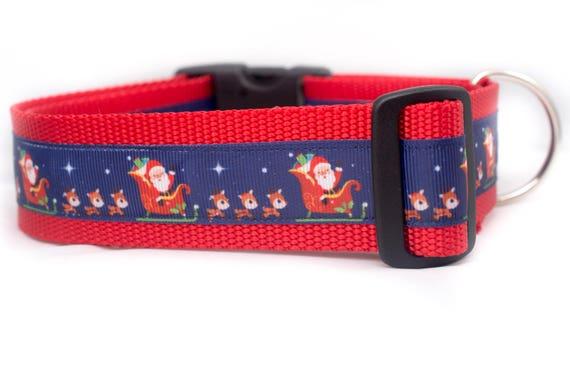 """Père Noël en chien vol chien - collier de chien hiver chien - 1.5"""" pouces large - collier de chien père Noël - Noël chien - renne - Noël"""