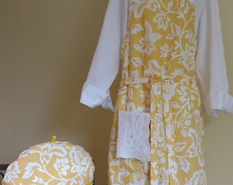 Plus Size Apron, Bright Yellow Floral, With Generous Cut and Long Ties