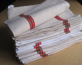 Vintage Tea Towels White Blue Yellow Serviettes 2pc French Dishcloths MS Napkins
