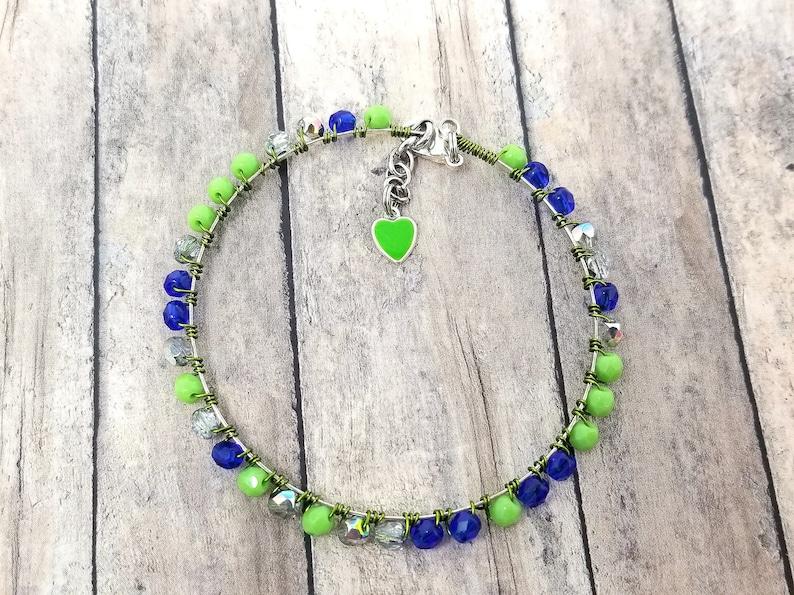 Dainty Blue Green Beaded Bracelet for Her Birthday Lime Green Bohemian Bracelet Blue Green Minimalist Memory Wire Beaded Bangle for Her