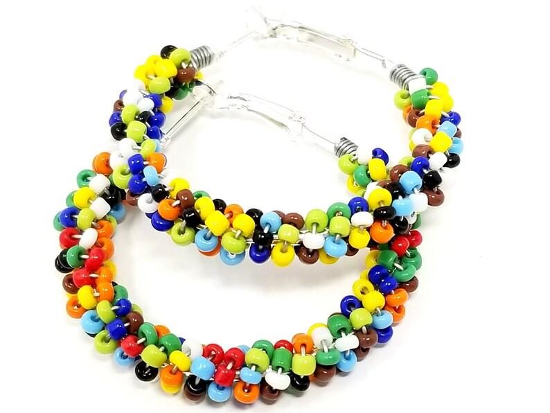 774931961 Beaded Hoop Earrings Teenage Girl Gifts Rainbow Boho   Etsy