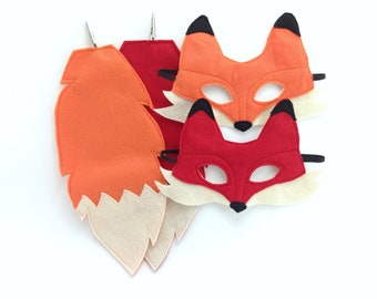 Child's Felt Fox Mask and Tail - TWO COLORS AVAILABLE -