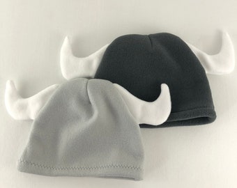 Child's Gray Fleece Viking Winter Hat With Horns - Two Colors Available