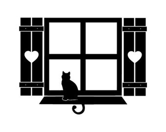 Cat in the window with heart shutters Vinyl Wall Decal