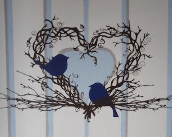 Twig Heart Wreath & Love Birds Vinyl Wall Decal