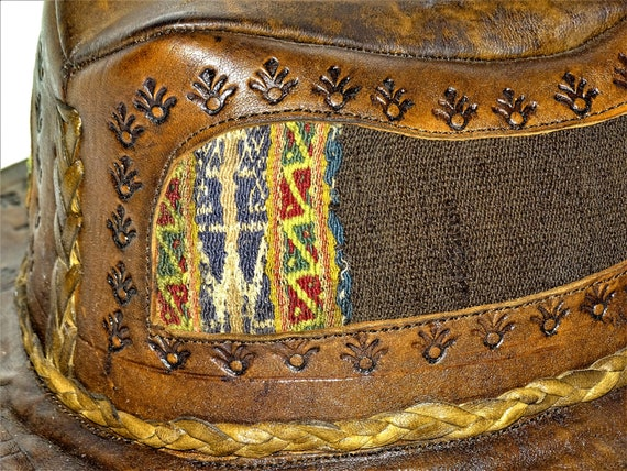 Vintage Hand Made Hand Tooled 1960s Leather Hat H… - image 9
