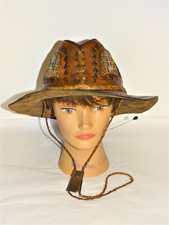Vintage Hand Made Hand Tooled 1960s Leather Hat Hi