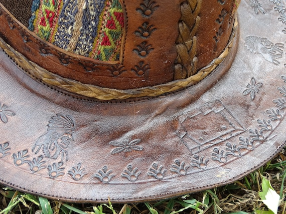 Vintage Hand Made Hand Tooled 1960s Leather Hat H… - image 7