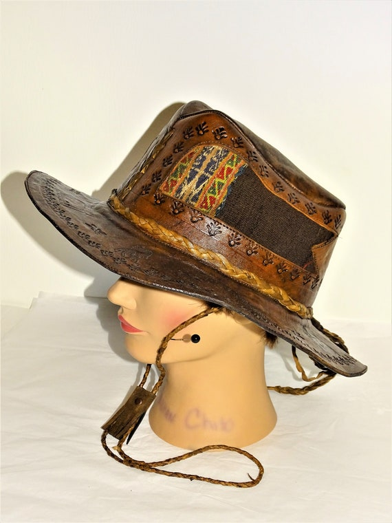 Vintage Hand Made Hand Tooled 1960s Leather Hat H… - image 3