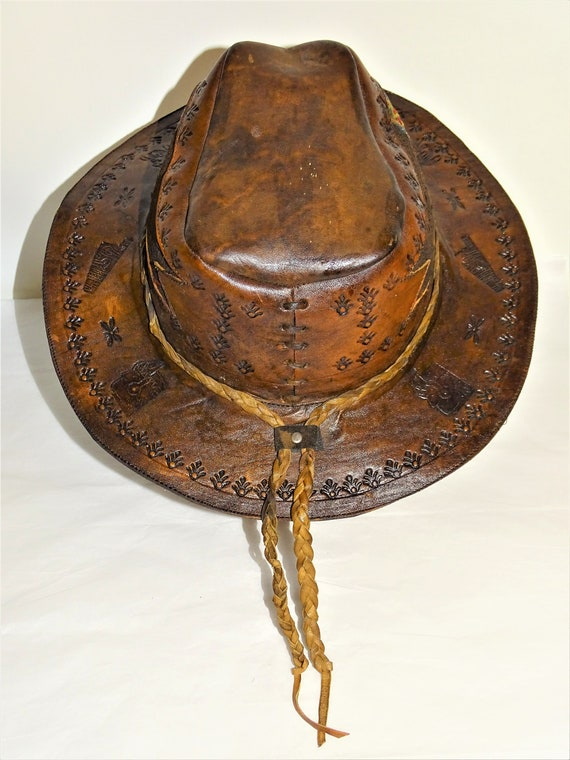 Vintage Hand Made Hand Tooled 1960s Leather Hat H… - image 5