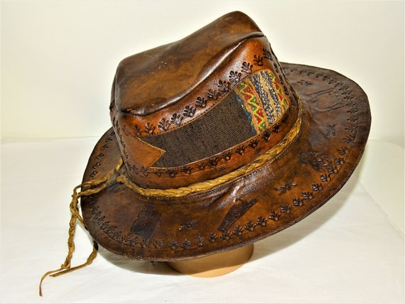 Vintage Hand Made Hand Tooled 1960s Leather Hat H… - image 4