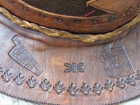 Vintage Hand Made Hand Tooled 1960s Leather Hat H… - image 8