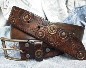 Dark brown men's belt embossed with motorcycle gears perfect men's gift for Christmas by Ishaor
