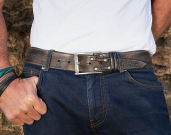 Distressed Leather, Brown Belt, Leather for Him, Mens Leather Accessories,Mens Belt, Men's Handmade Leather,Custom leather belts,Unique gift