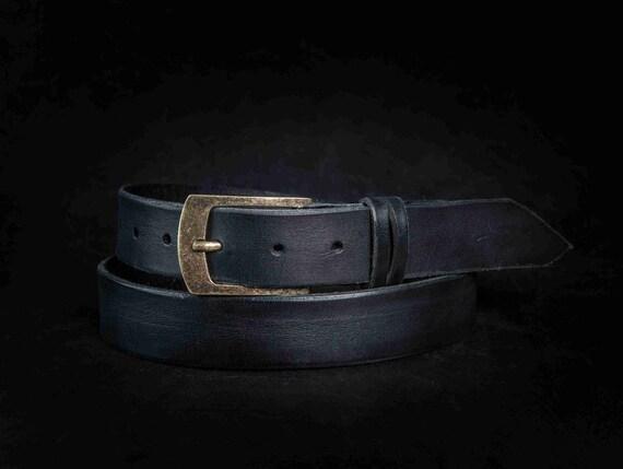 Ceinture noire ceinture homme accessoires pour père   Etsy cbfd1d389c7