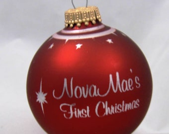 Personalized Engraved Matte Color Glass Ball Christmas Ornament with Storage Box and Hanger