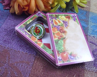 Still Life Fruit Motif Maroon Border Card Safe With Lid That Stays On