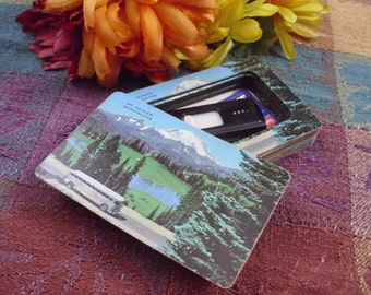 Vintage Greyhound Bus Mount Rainier Washington Scene Card Safe With Lid That Stays On