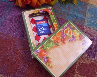 Still Life Fruit Motif Green Border Card Safe With Lid That Stays On