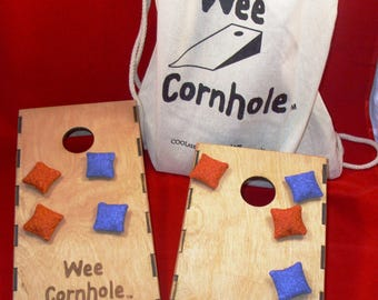 Quarter Scale Wee Cornhole Set Boards Bags Carry Bag For Home Office Mini Desk
