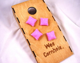 """SPECKLED PINK Wee Cornhole Mini Bags Replacement 1-1/4"""" Square Sold in Sets of Four"""