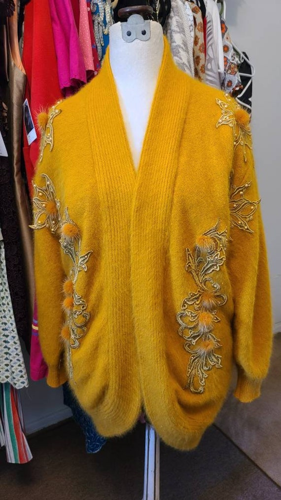 Vintage Yellow Mohair cocoon sweater
