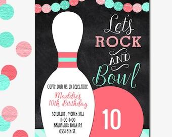 Bowling Invitation, Girl's Bowling Invitation, Girl's Party Invitation, Girl's Birthday, Bowling Party, Printable Bowling Invitation