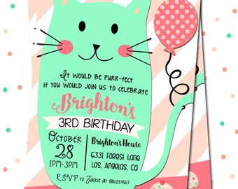 Kitty Birthday Invitation Cat Invitation Kitty Party Etsy
