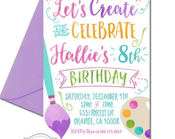 Art Party Invitation, Arts and Crafts Party, Paint Party, Create and Celebrate, Watercolor Party, Crafty, Girl's Birthday, girl's art party