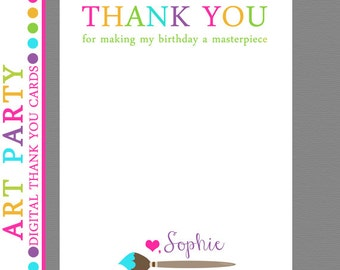 Art Party Thank you cards, Printable, Paint Party Thank you Cards, Arts and Crafts Party, Digital File