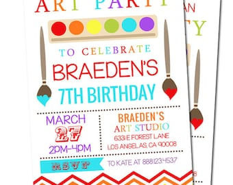 Art Party Invitation - Rainbow Party - Craft Party - Digital File