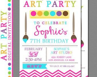 Art Party Invitation, Paint Party Invitation, Craft Party Invitation - Digital Art Party, Arts and Crafts, Printable Art Party Invitation