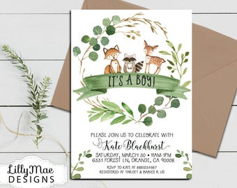 Woodland Baby Shower Invitation, Greenery Baby Shower, Baby Boy Shower, Eucalyptus Shower Invitation, Green Wreath, Rustic Baby Shower